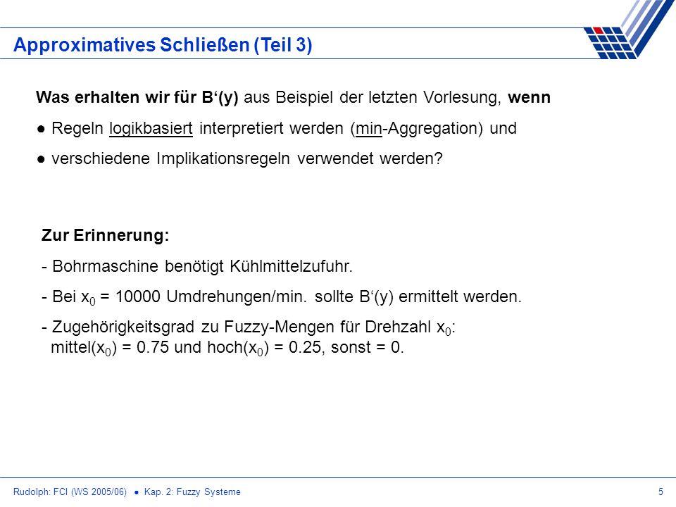 Rudolph: FCI (WS 2005/06) Kap. 2: Fuzzy Systeme5 Approximatives Schließen (Teil 3) Was erhalten wir für B(y) aus Beispiel der letzten Vorlesung, wenn