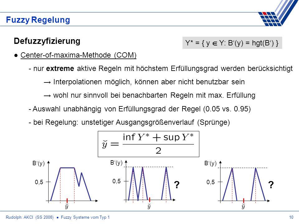 Rudolph: AKCI (SS 2008) Fuzzy Systeme vom Typ 110 Fuzzy Regelung Defuzzyfizierung Center-of-maxima-Methode (COM) - nur extreme aktive Regeln mit höchs