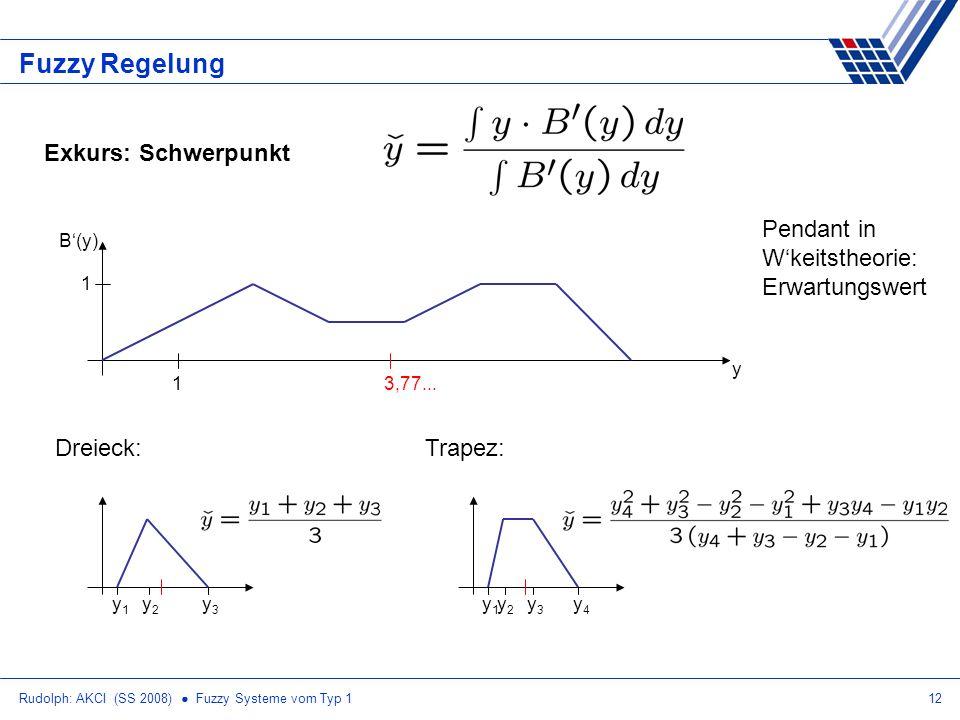 Rudolph: AKCI (SS 2008) Fuzzy Systeme vom Typ 112 Fuzzy Regelung Exkurs: Schwerpunkt Dreieck: y1y1 y2y2 y3y3 Trapez: y1y1 y2y2 y4y4 y3y3 y B(y) 1 Pend