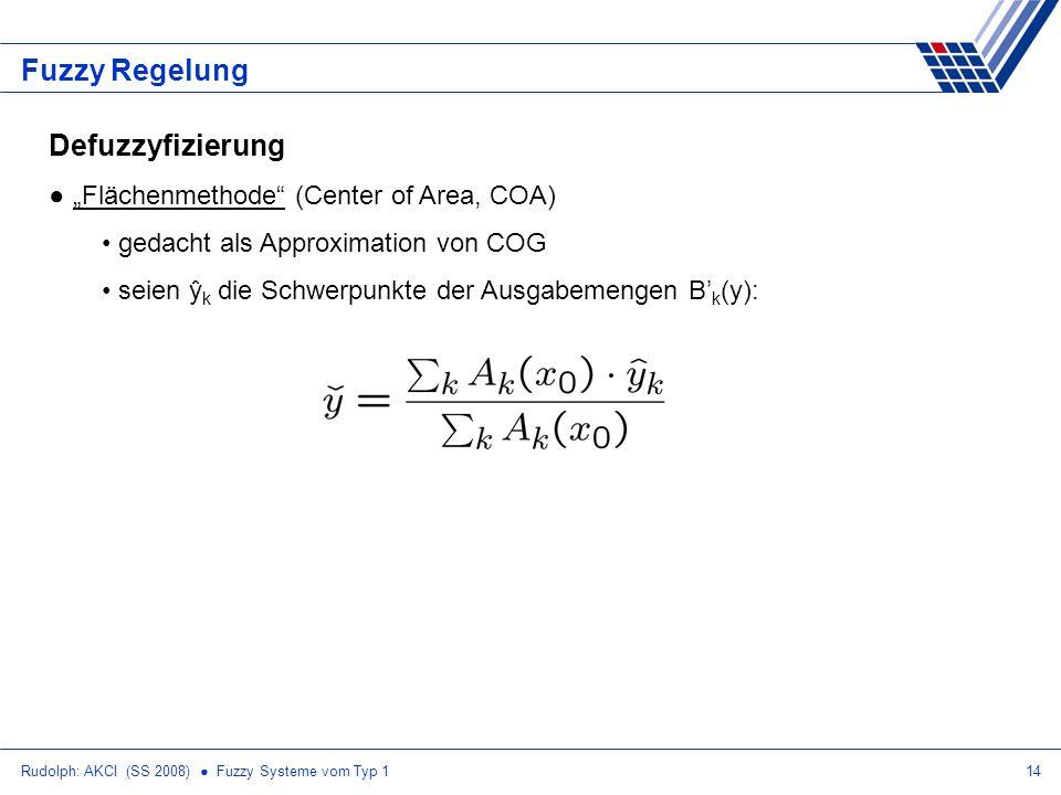Rudolph: AKCI (SS 2008) Fuzzy Systeme vom Typ 114 Fuzzy Regelung Defuzzyfizierung Flächenmethode (Center of Area, COA) gedacht als Approximation von C