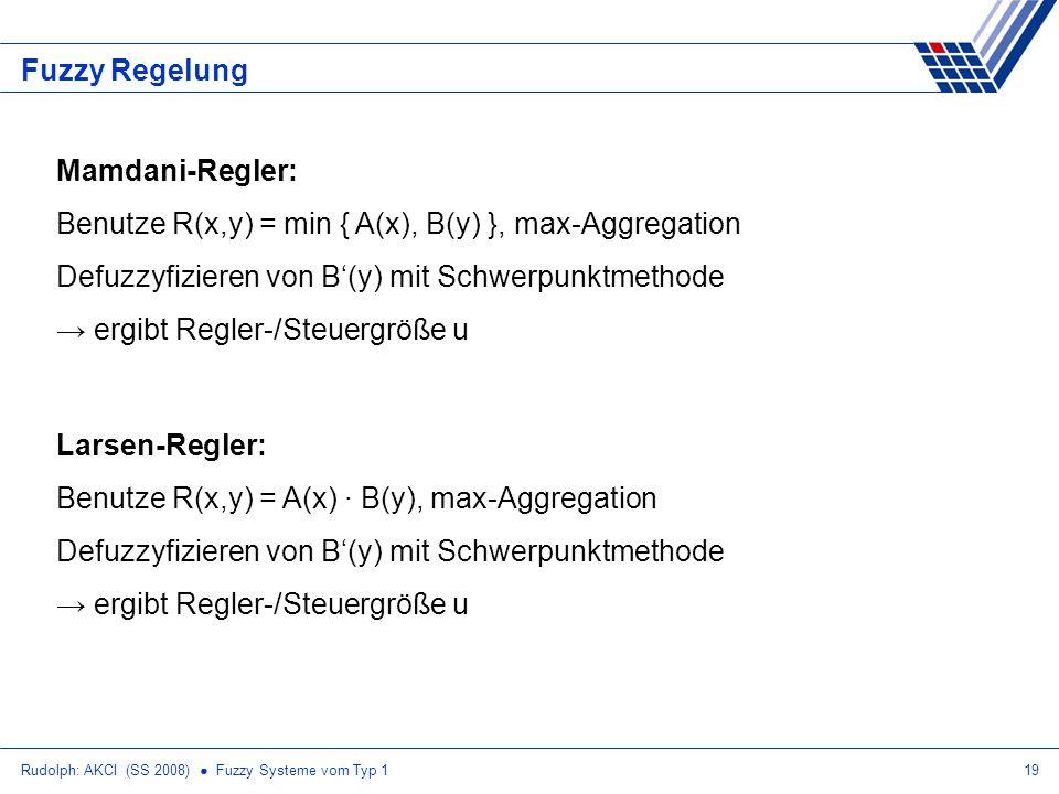 Rudolph: AKCI (SS 2008) Fuzzy Systeme vom Typ 119 Fuzzy Regelung Mamdani-Regler: Benutze R(x,y) = min { A(x), B(y) }, max-Aggregation Defuzzyfizieren