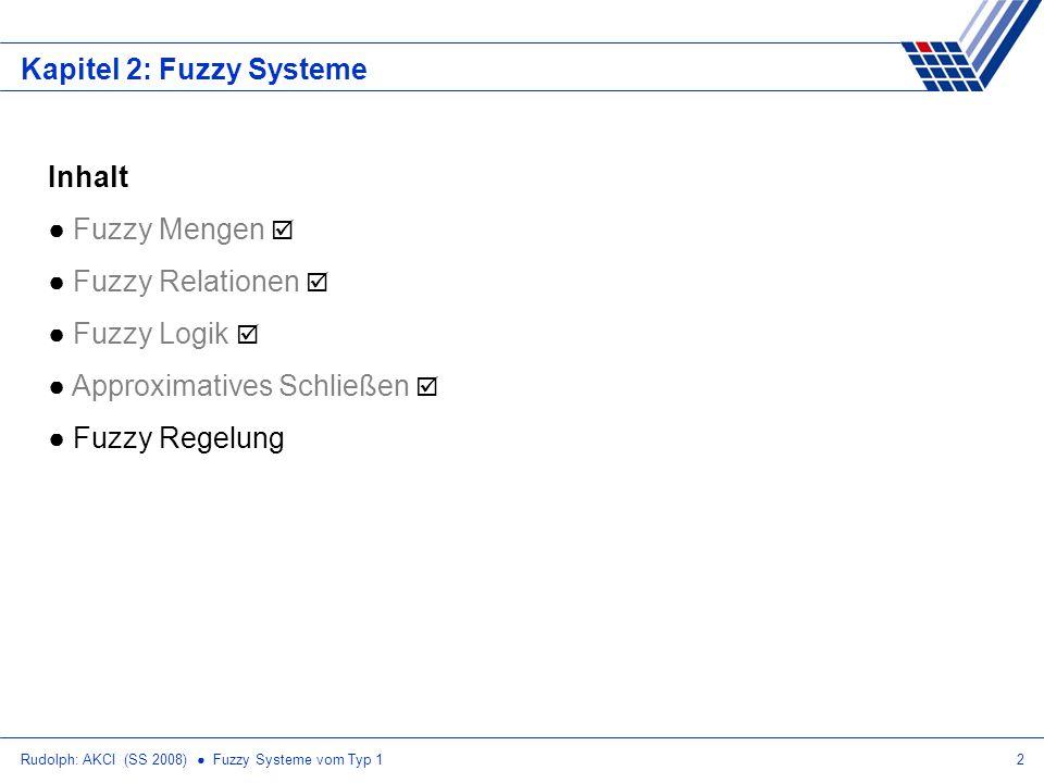 Rudolph: AKCI (SS 2008) Fuzzy Systeme vom Typ 113 Fuzzy Regelung: Exkurs Schwerpunkt y z=B(y) 1 y1y1 y2y2 y3y3 y4y4 y5y5 y6y6 y7y7 Annahme: Fuzzy-Zugehörigkeitsfunktionen stückweise linear Ergebnismenge B(y) liegt als Punktsequenz (y 1, z 1 ), (y 2, z 2 ), …, (y n, z n ) vor ) Fläche unter B(y) und gewichtete Fläche stückweise additiv ermitteln ) Geradengleichung z = m y + b ) (y i, z i ) und (y i+1,z i+1 ) einsetzen ) liefert m und b für jede der n-1 linearen Teilstrecken )