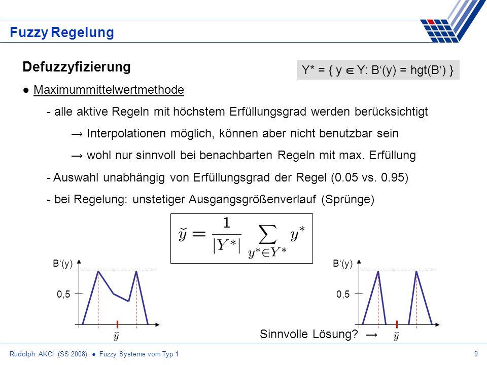 Rudolph: AKCI (SS 2008) Fuzzy Systeme vom Typ 110 Fuzzy Regelung Defuzzyfizierung Center-of-maxima-Methode (COM) - nur extreme aktive Regeln mit höchstem Erfüllungsgrad werden berücksichtigt Interpolationen möglich, können aber nicht benutzbar sein wohl nur sinnvoll bei benachbarten Regeln mit max.