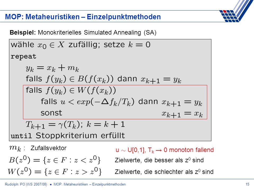 Rudolph: PO (WS 2007/08) MOP: Metaheuristiken – Einzelpunktmethoden15 MOP: Metaheuristiken – Einzelpunktmethoden Beispiel: Monokriterielles Simulated