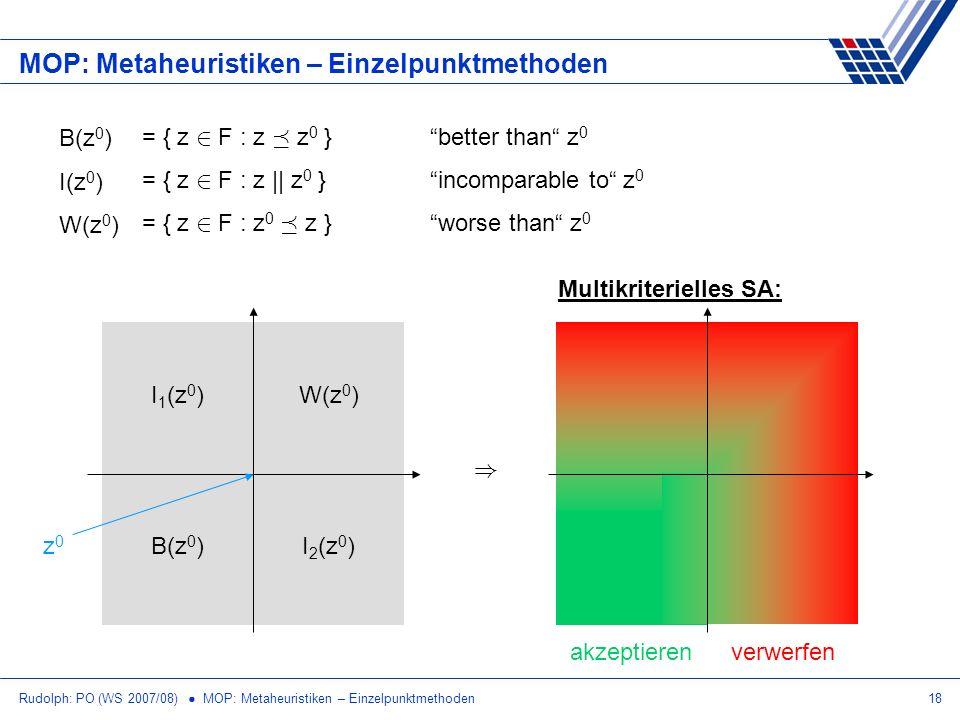 Rudolph: PO (WS 2007/08) MOP: Metaheuristiken – Einzelpunktmethoden18 MOP: Metaheuristiken – Einzelpunktmethoden Multikriterielles SA: B(z 0 ) I(z 0 )