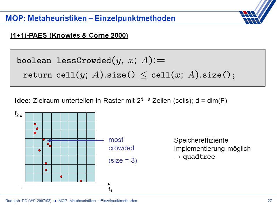 Rudolph: PO (WS 2007/08) MOP: Metaheuristiken – Einzelpunktmethoden27 MOP: Metaheuristiken – Einzelpunktmethoden (1+1)-PAES (Knowles & Corne 2000) Ide