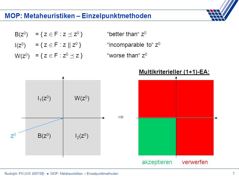 Rudolph: PO (WS 2007/08) MOP: Metaheuristiken – Einzelpunktmethoden7 MOP: Metaheuristiken – Einzelpunktmethoden Multikriterieller (1+1)-EA: B(z 0 ) I(