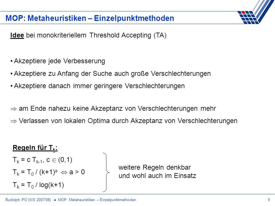 Rudolph: PO (WS 2007/08) MOP: Metaheuristiken – Einzelpunktmethoden9 MOP: Metaheuristiken – Einzelpunktmethoden Idee bei monokriteriellem Threshold Ac