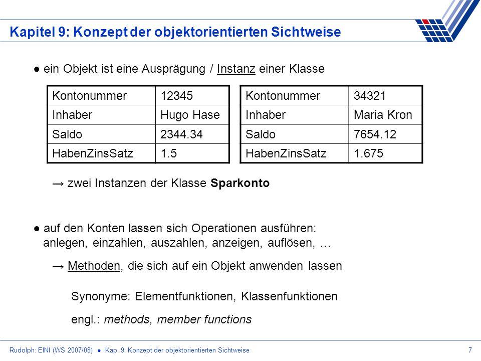 Rudolph: EINI (WS 2007/08) Kap. 9: Konzept der objektorientierten Sichtweise7 Kapitel 9: Konzept der objektorientierten Sichtweise ein Objekt ist eine
