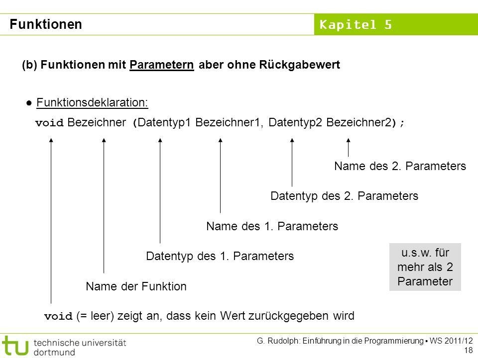 Kapitel 5 G. Rudolph: Einführung in die Programmierung WS 2011/12 18 (b) Funktionen mit Parametern aber ohne Rückgabewert Funktionsdeklaration: void B