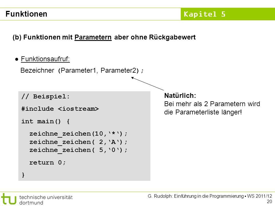 Kapitel 5 G. Rudolph: Einführung in die Programmierung WS 2011/12 20 (b) Funktionen mit Parametern aber ohne Rückgabewert Funktionsaufruf: Bezeichner