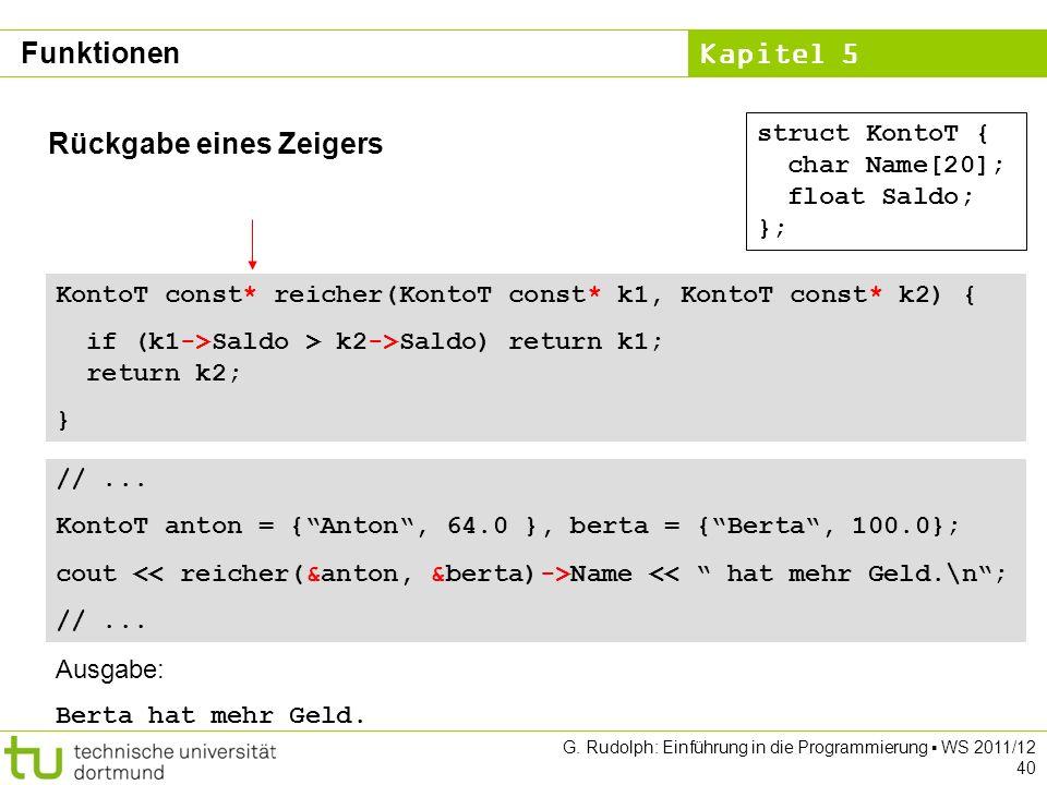Kapitel 5 G. Rudolph: Einführung in die Programmierung WS 2011/12 40 Rückgabe eines Zeigers struct KontoT { char Name[20]; float Saldo; }; KontoT cons