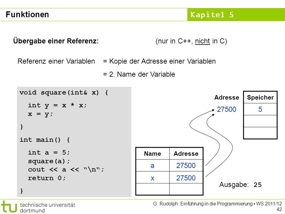 Kapitel 5 G. Rudolph: Einführung in die Programmierung WS 2011/12 42 Übergabe einer Referenz:(nur in C++, nicht in C) Referenz einer Variablen= Kopie