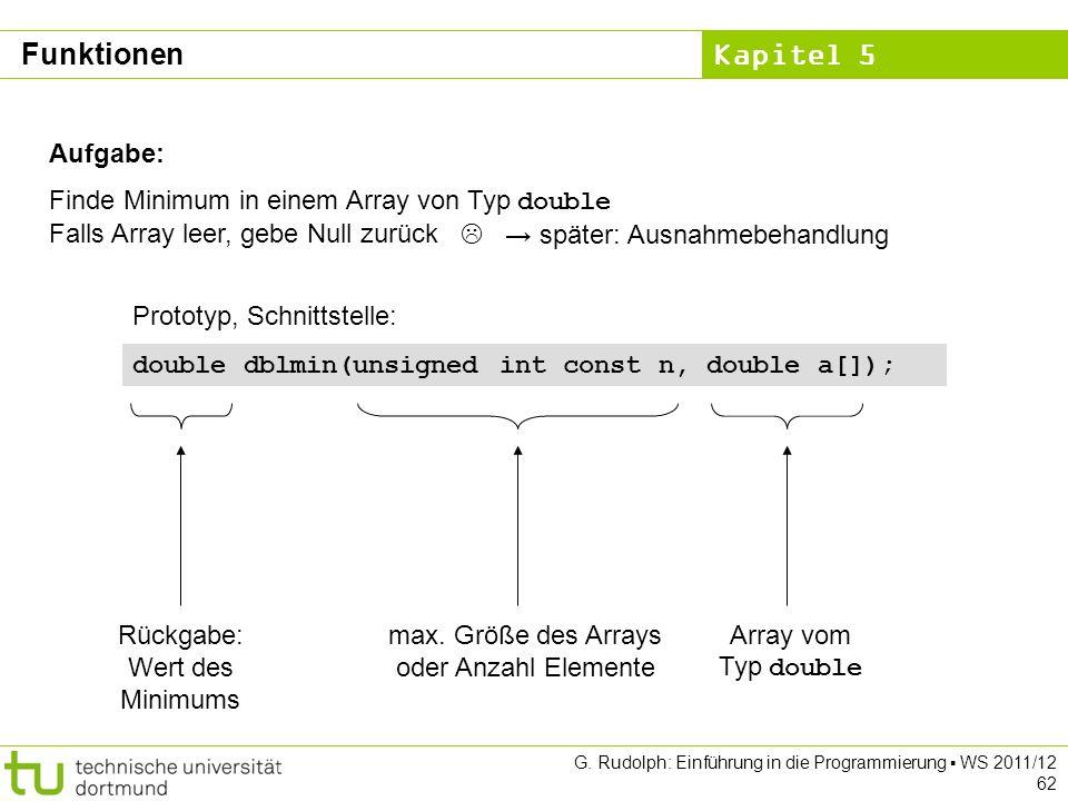 Kapitel 5 G. Rudolph: Einführung in die Programmierung WS 2011/12 62 Aufgabe: Finde Minimum in einem Array von Typ double Falls Array leer, gebe Null
