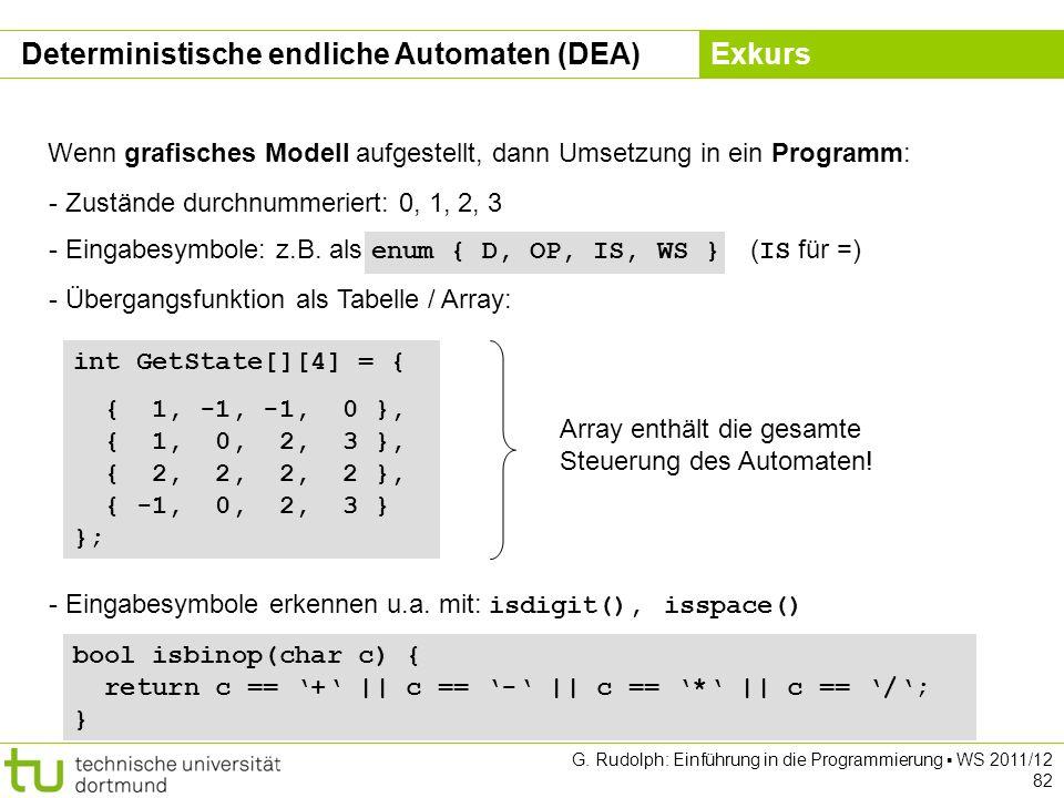 Kapitel 5 G. Rudolph: Einführung in die Programmierung WS 2011/12 82 Wenn grafisches Modell aufgestellt, dann Umsetzung in ein Programm: - Zustände du