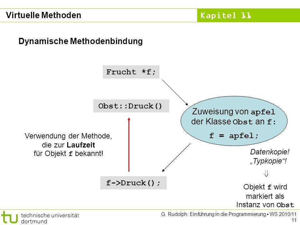Kapitel 11 G. Rudolph: Einführung in die Programmierung WS 2010/11 11 Dynamische Methodenbindung Frucht *f; Zuweisung von apfel der Klasse Obst an f: