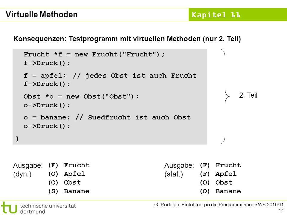 Kapitel 11 G. Rudolph: Einführung in die Programmierung WS 2010/11 14 Konsequenzen: Testprogramm mit virtuellen Methoden (nur 2. Teil) Frucht *f = new