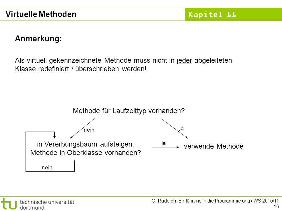 Kapitel 11 G. Rudolph: Einführung in die Programmierung WS 2010/11 16 Anmerkung: Als virtuell gekennzeichnete Methode muss nicht in jeder abgeleiteten