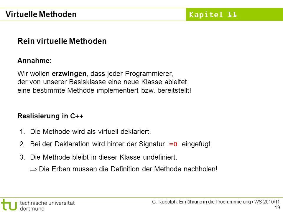 Kapitel 11 G. Rudolph: Einführung in die Programmierung WS 2010/11 19 Rein virtuelle Methoden Annahme: Wir wollen erzwingen, dass jeder Programmierer,