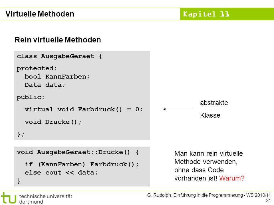 Kapitel 11 G. Rudolph: Einführung in die Programmierung WS 2010/11 21 Rein virtuelle Methoden class AusgabeGeraet { protected: bool KannFarben; Data d