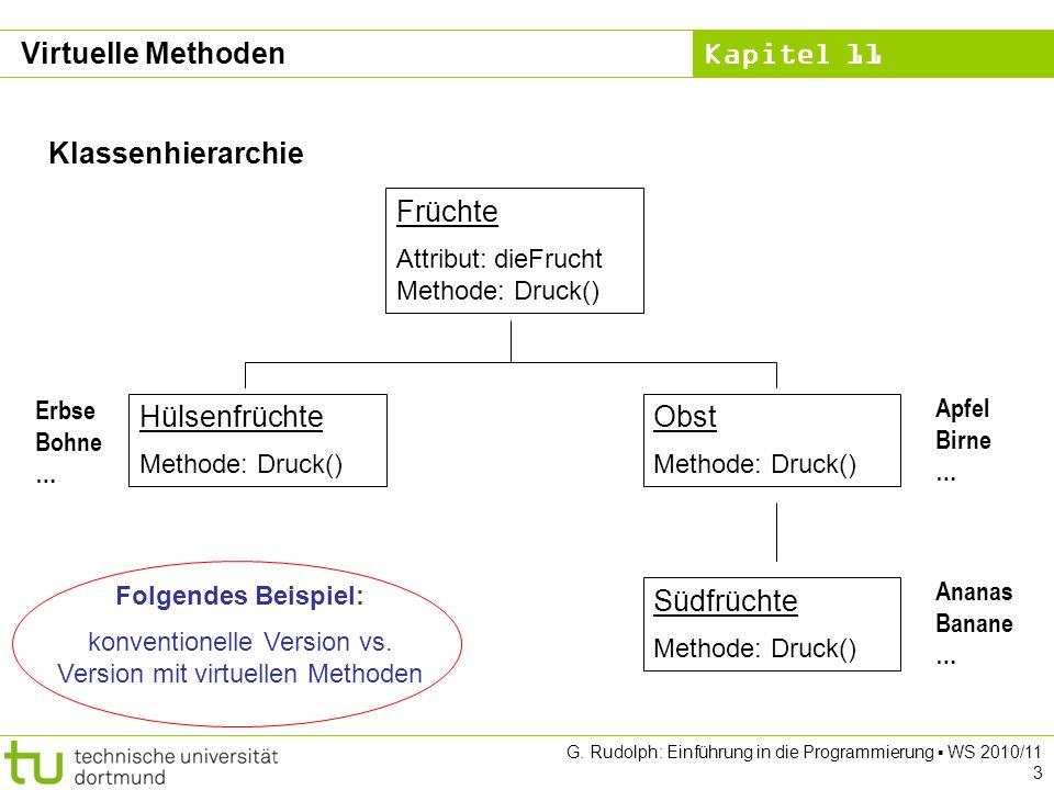 Kapitel 11 G. Rudolph: Einführung in die Programmierung WS 2010/11 3 Virtuelle Methoden Klassenhierarchie Früchte Attribut: dieFrucht Methode: Druck()