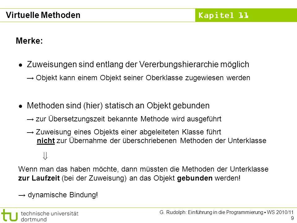 Kapitel 11 G. Rudolph: Einführung in die Programmierung WS 2010/11 9 Merke: Zuweisungen sind entlang der Vererbungshierarchie möglich Objekt kann eine