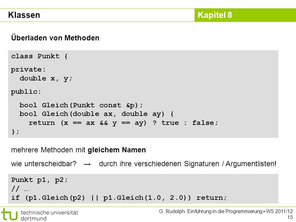 Kapitel 8 G. Rudolph: Einführung in die Programmierung WS 2011/12 15 Überladen von Methoden class Punkt { private: double x, y; public: bool Gleich(Pu