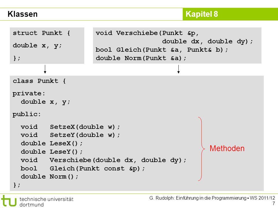 Kapitel 8 G. Rudolph: Einführung in die Programmierung WS 2011/12 7 struct Punkt { double x, y; }; void Verschiebe(Punkt &p, double dx, double dy); bo