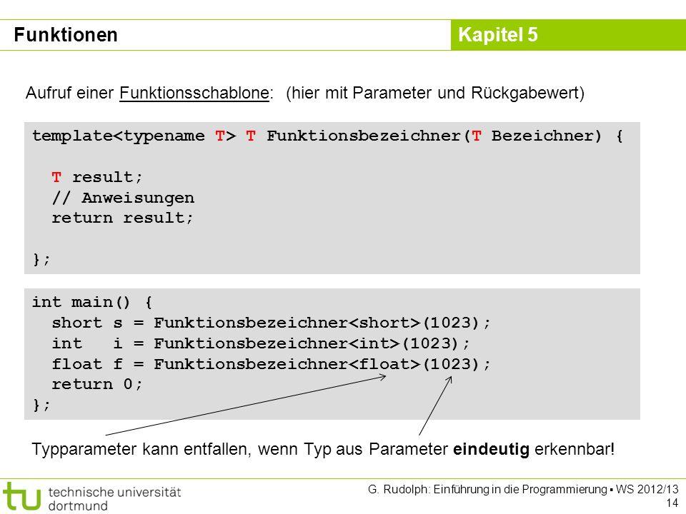 Kapitel 5 G. Rudolph: Einführung in die Programmierung WS 2012/13 14 Funktionen Aufruf einer Funktionsschablone: (hier mit Parameter und Rückgabewert)
