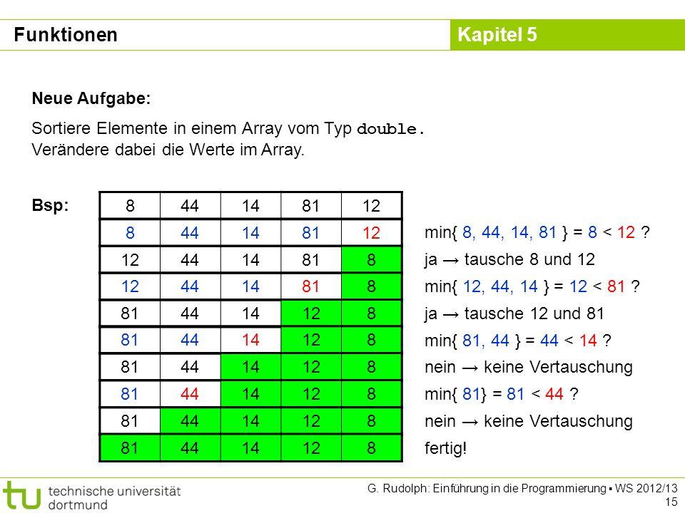 Kapitel 5 G. Rudolph: Einführung in die Programmierung WS 2012/13 15 Neue Aufgabe: Sortiere Elemente in einem Array vom Typ double. Verändere dabei di