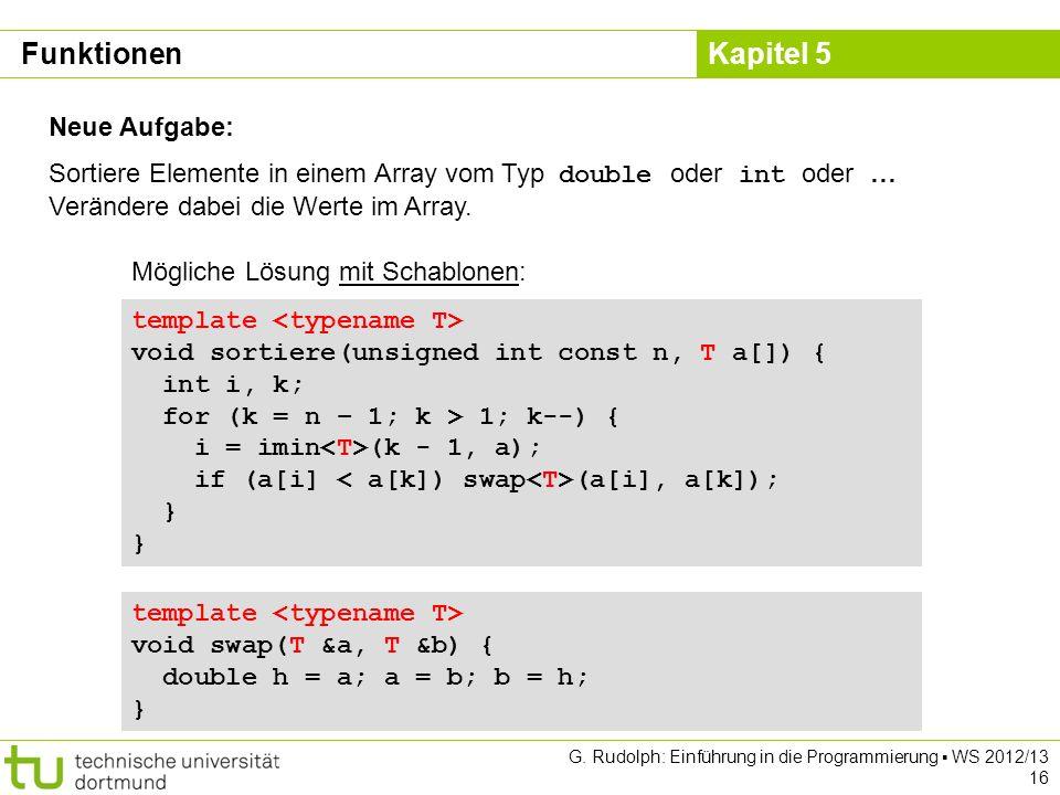 Kapitel 5 G. Rudolph: Einführung in die Programmierung WS 2012/13 16 Neue Aufgabe: Sortiere Elemente in einem Array vom Typ double oder int oder … Ver