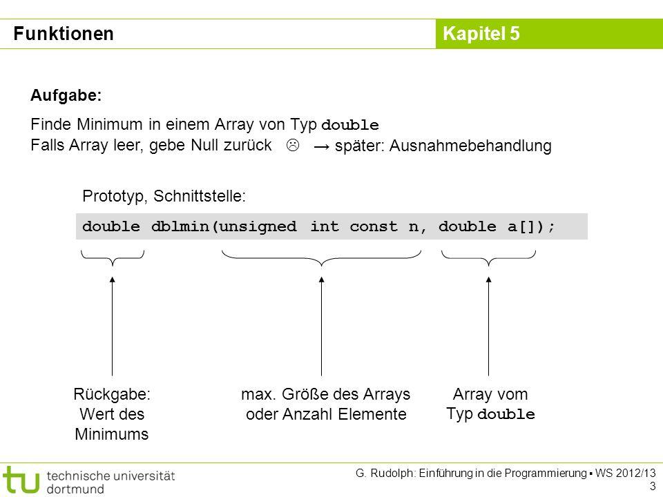 Kapitel 5 G. Rudolph: Einführung in die Programmierung WS 2012/13 3 Aufgabe: Finde Minimum in einem Array von Typ double Falls Array leer, gebe Null z