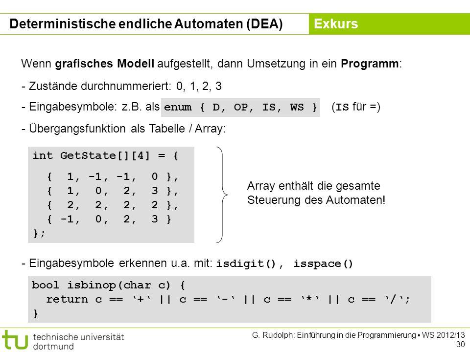 Kapitel 5 G. Rudolph: Einführung in die Programmierung WS 2012/13 30 Wenn grafisches Modell aufgestellt, dann Umsetzung in ein Programm: - Zustände du