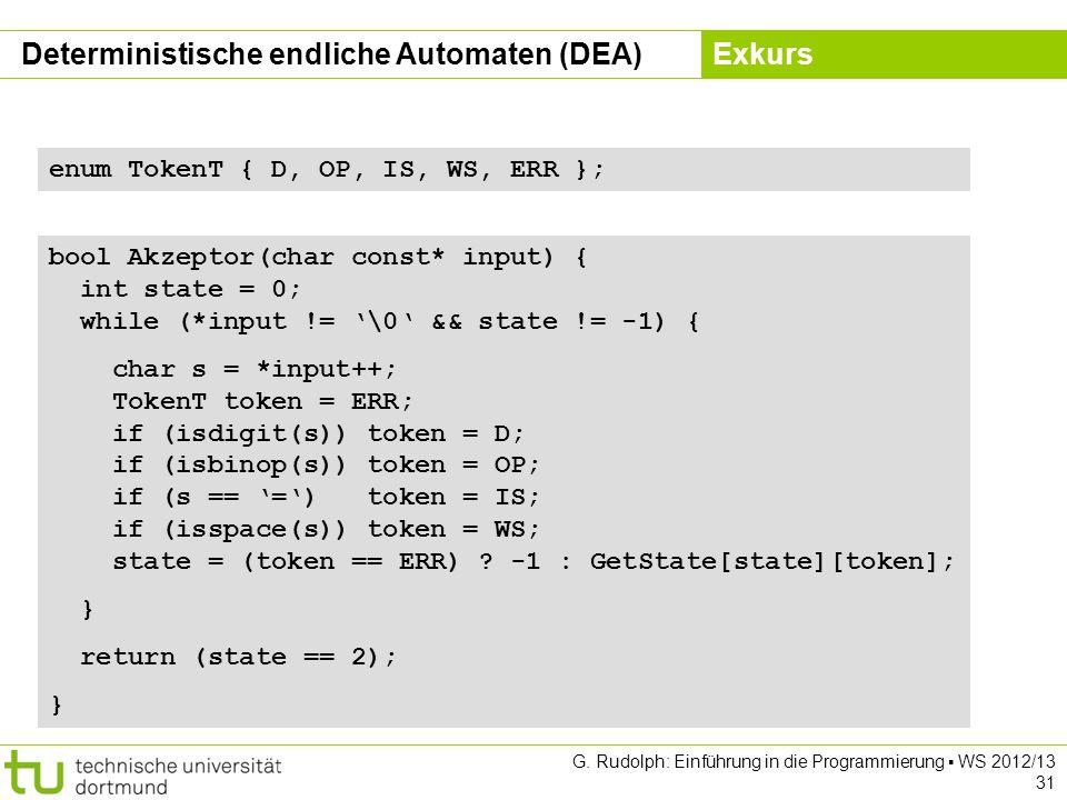 Kapitel 5 G. Rudolph: Einführung in die Programmierung WS 2012/13 31 bool Akzeptor(char const* input) { int state = 0; while (*input != \0 && state !=