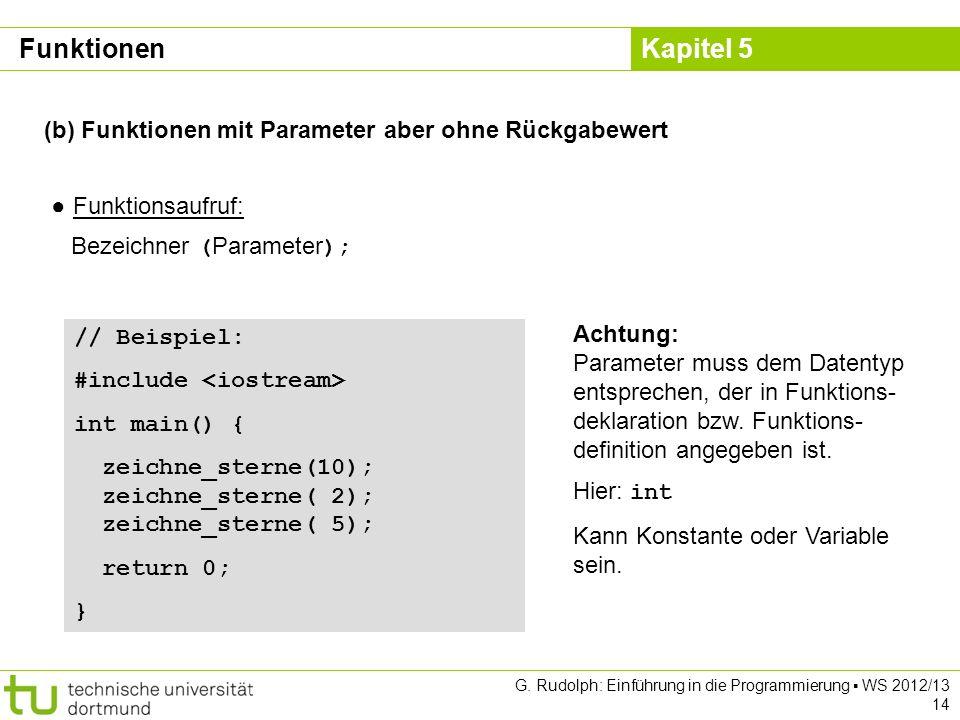 Kapitel 5 G. Rudolph: Einführung in die Programmierung WS 2012/13 14 (b) Funktionen mit Parameter aber ohne Rückgabewert Funktionsaufruf: Bezeichner (