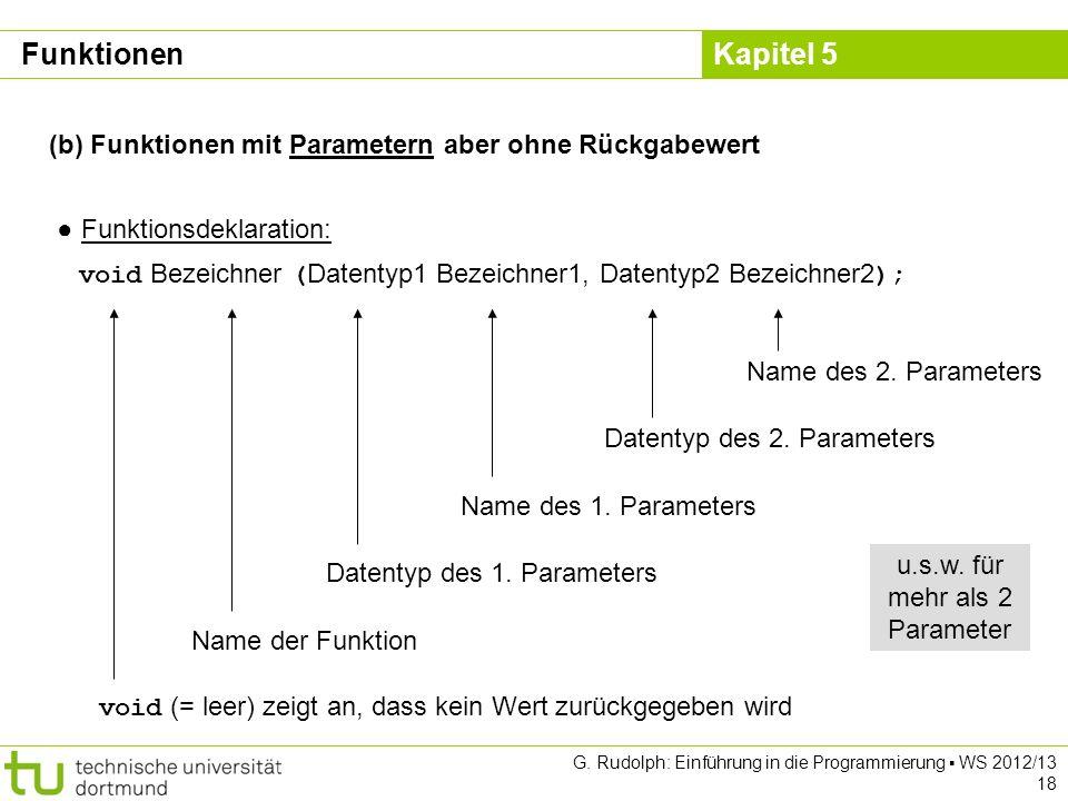Kapitel 5 G. Rudolph: Einführung in die Programmierung WS 2012/13 18 (b) Funktionen mit Parametern aber ohne Rückgabewert Funktionsdeklaration: void B
