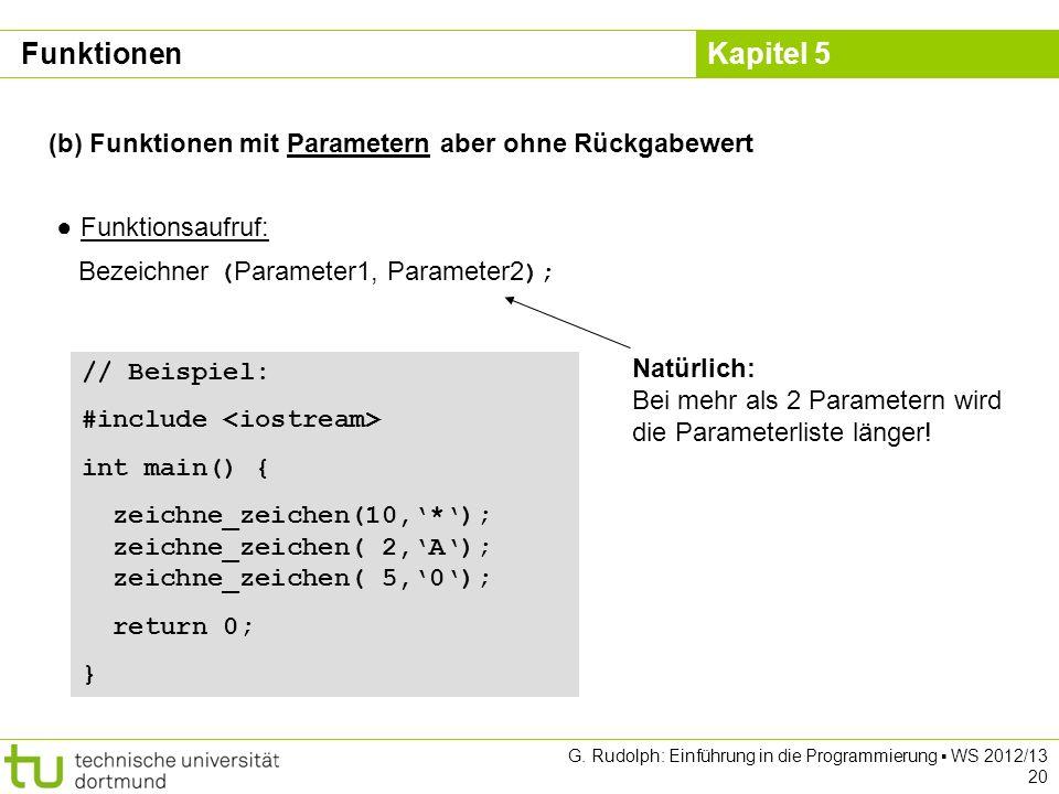 Kapitel 5 G. Rudolph: Einführung in die Programmierung WS 2012/13 20 (b) Funktionen mit Parametern aber ohne Rückgabewert Funktionsaufruf: Bezeichner