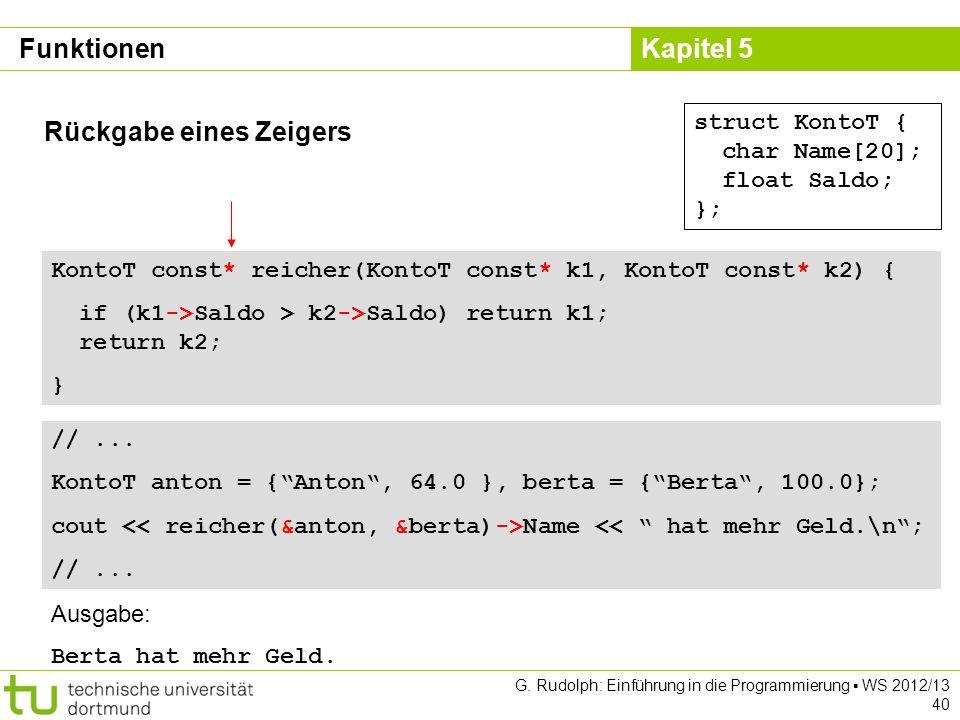 Kapitel 5 G. Rudolph: Einführung in die Programmierung WS 2012/13 40 Rückgabe eines Zeigers struct KontoT { char Name[20]; float Saldo; }; KontoT cons