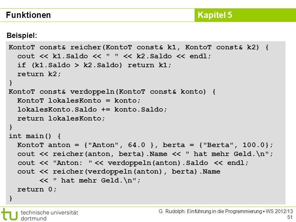 Kapitel 5 G. Rudolph: Einführung in die Programmierung WS 2012/13 51 KontoT const& reicher(KontoT const& k1, KontoT const& k2) { cout << k1.Saldo <<