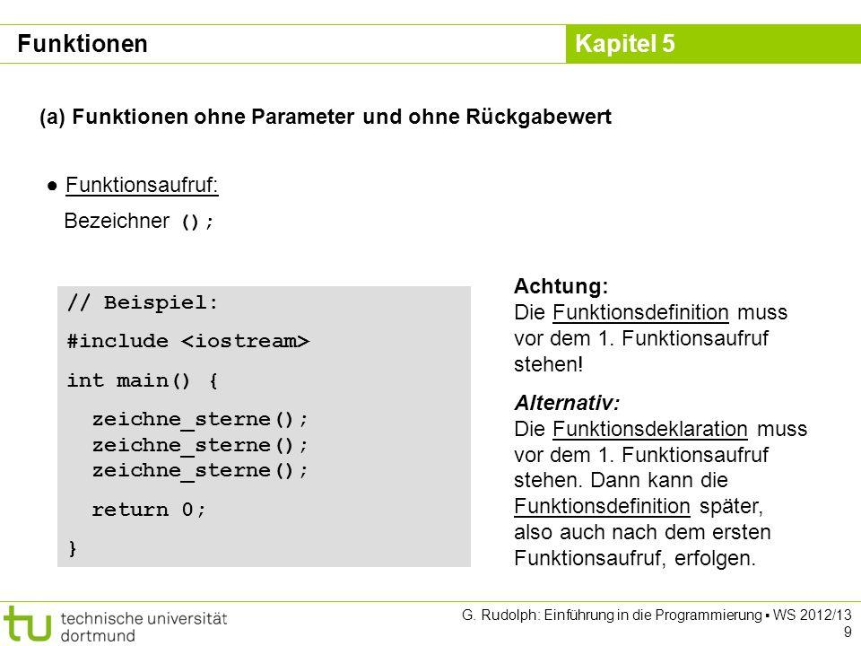 Kapitel 5 G. Rudolph: Einführung in die Programmierung WS 2012/13 9 (a) Funktionen ohne Parameter und ohne Rückgabewert Funktionsaufruf: Bezeichner ()