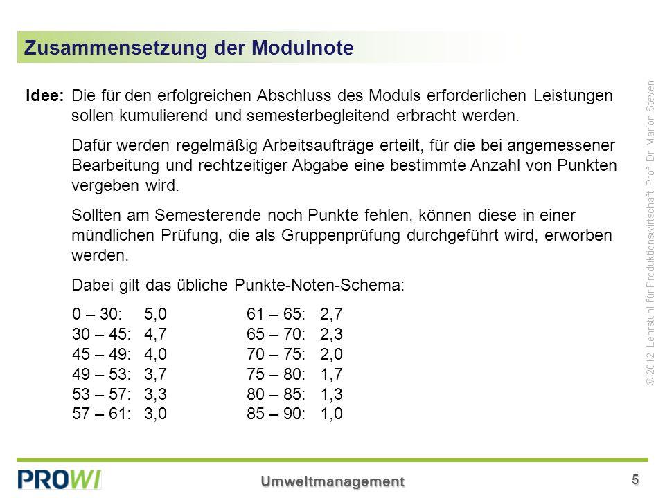 Umweltmanagement5 © 2012 Lehrstuhl für Produktionswirtschaft Prof. Dr. Marion Steven Zusammensetzung der Modulnote Idee:Die für den erfolgreichen Absc