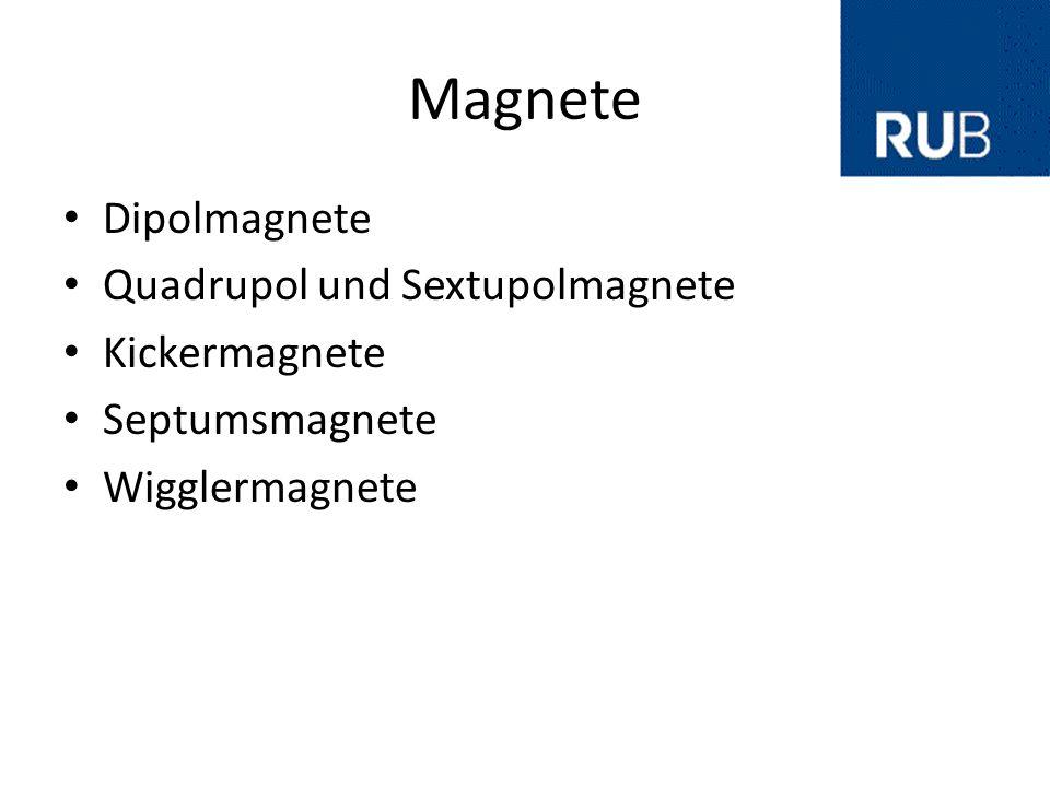 Magnete Dipolmagnete Quadrupol und Sextupolmagnete Kickermagnete Septumsmagnete Wigglermagnete