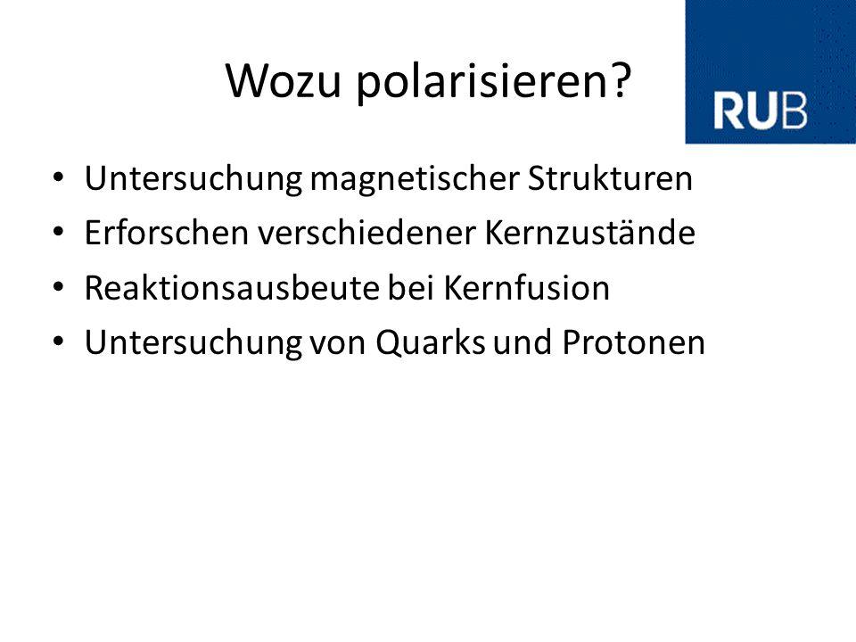 Wozu polarisieren? Untersuchung magnetischer Strukturen Erforschen verschiedener Kernzustände Reaktionsausbeute bei Kernfusion Untersuchung von Quarks