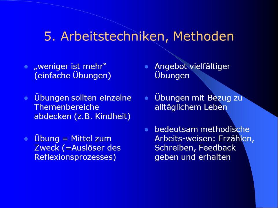 4. Rollenverständnis Lehrende/Lernende Lehrer = Lernender und Lehrer zugleich Lehrer begleitet den Lerner Lehrer nimmt Lerner als ganze Person dar kei