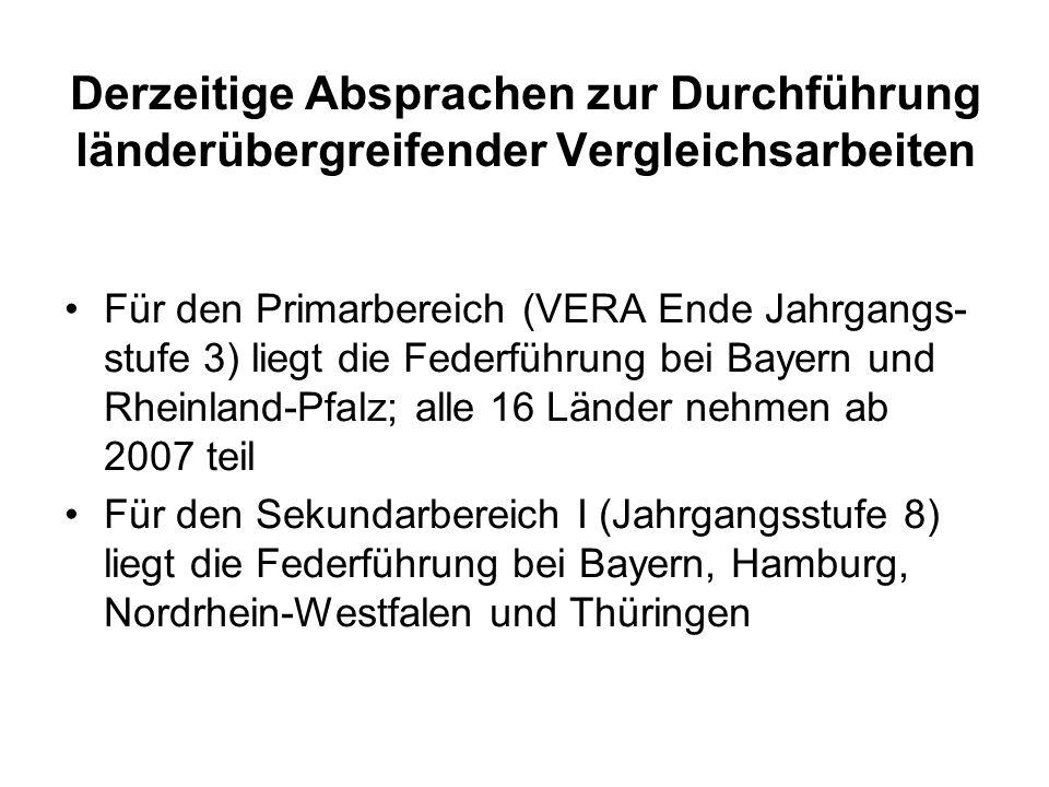 Derzeitige Absprachen zur Durchführung länderübergreifender Vergleichsarbeiten Für den Primarbereich (VERA Ende Jahrgangs- stufe 3) liegt die Federfüh