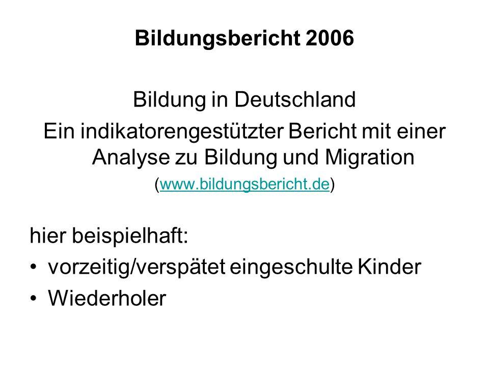 Bildungsbericht 2006 Bildung in Deutschland Ein indikatorengestützter Bericht mit einer Analyse zu Bildung und Migration (www.bildungsbericht.de)www.b