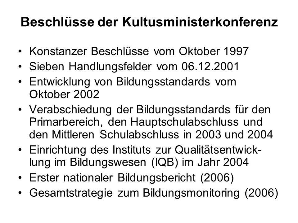 Beschlüsse der Kultusministerkonferenz Konstanzer Beschlüsse vom Oktober 1997 Sieben Handlungsfelder vom 06.12.2001 Entwicklung von Bildungsstandards