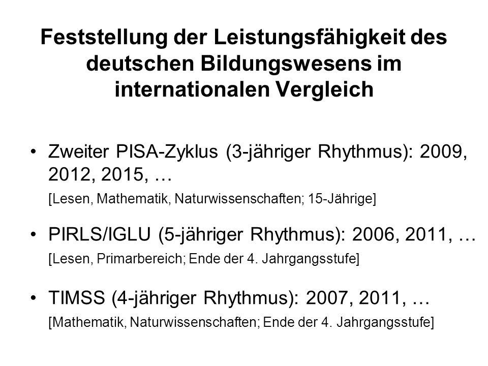 Feststellung der Leistungsfähigkeit des deutschen Bildungswesens im internationalen Vergleich Zweiter PISA-Zyklus (3-jähriger Rhythmus): 2009, 2012, 2