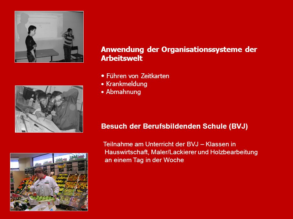 13 Anwendung der Organisationssysteme der Arbeitswelt Führen von Zeitkarten Krankmeldung Abmahnung Besuch der Berufsbildenden Schule (BVJ) Teilnahme a