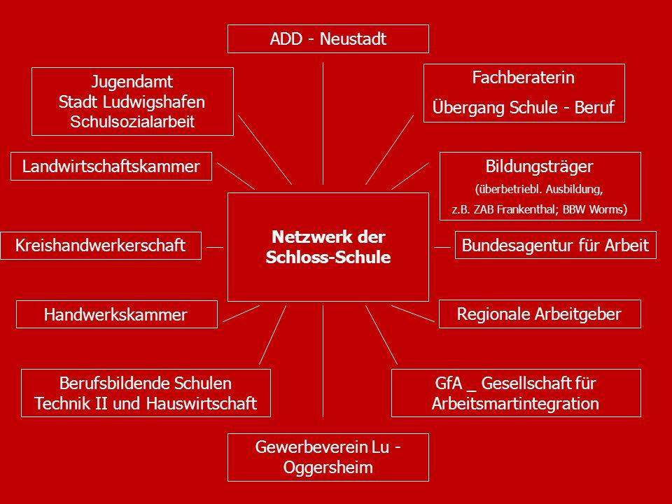 16 Netzwerk der Schloss-Schule Gewerbeverein Lu - Oggersheim GfA _ Gesellschaft für Arbeitsmartintegration Bundesagentur für Arbeit Berufsbildende Sch